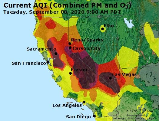 Air quality map for Nevada and California as of 9 a.m. on Tuesday, Sept. 8, 2020.