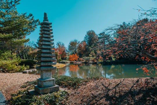 A peaceful scene at the Mizumoto Japanese Stroll Garden.
