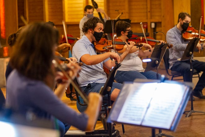 Members of the Tallahassee Symphony rehearse while socially distanced in the Carriage House at Goodwood Museum and Gardens on Tuesday, Sept. 8, 2020.