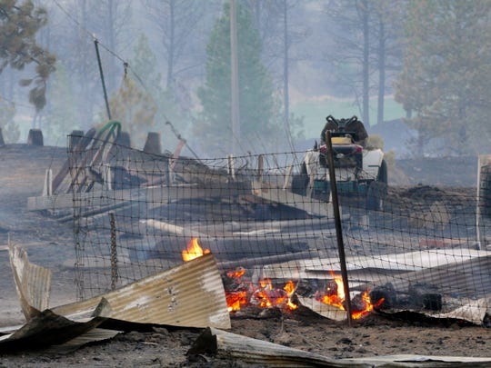 Charred rubble remains after a wildfire decimated the small town of Malden, Wash., Monday, Sept. 7, 2020, destroying an estimated 70% of homes in the northern Whitman County community, The Spokesman-Review reports.