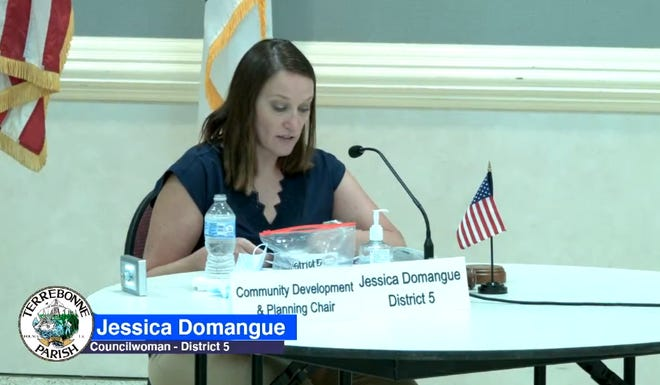 Terrebonne Councilwoman Jessica Domangue discusses state COVID-19 restrictions during Tuesday night's meeting.