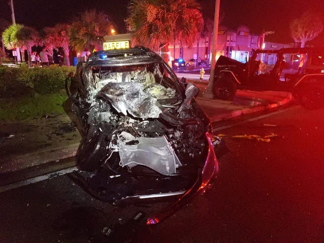 Daytona Beach Shores police said this vehicle crashed into an oncoming vehicle Sunday around 1:17 a.m. and caught fire. The occupant of the vehicle was rescued by several people, including five student-athletes from Mount Dora Christian Academy. [DAYTONA BEACH SHORES POLICE]