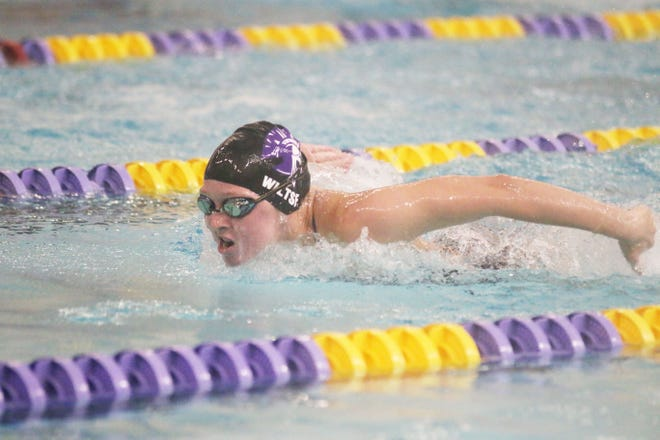 Eve Wiltse swimming in the meet against Johnston Tuesday, Sept. 8 at Summit Middle School in Johnston.