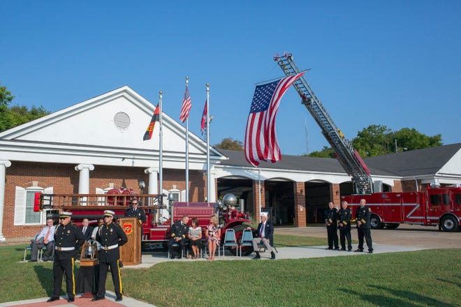 Columbia Fire and Rescue hosts a ceremony at Columbia Fire Station No. 1 commemorating the attacks of Sept. 11, 2001 on Wednesday, Sept. 11, 2019.
