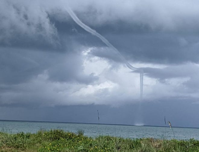 Tuesday, the National Weather Service received reports of a waterspout about 2 miles offshore south of Flagler Beach.