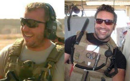 Sergeant First Class Brian Woods, left, and  Staff Sergeant Matt Pucino
