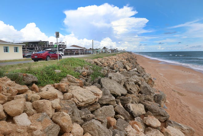 Large coquina rocks covering and protecting the dune along SR A1A, Wednesday September 9, 2020 near south 19th Street in Flagler Beach.