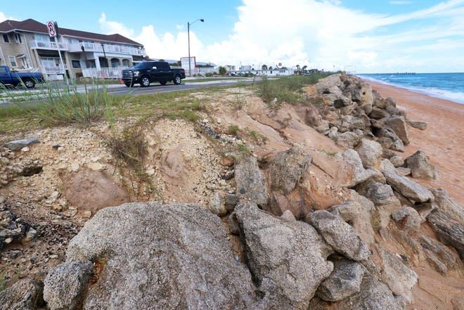 A washout from heavy rains along State Road A1A, Wednesday, Sept. 9, 2020, near south 13th Street in Flagler Beach.