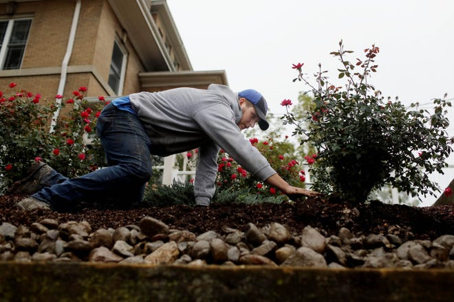 Trevor Lee, a landscaper with Ritters Landscaping Home and Garden Center of West Burlington, spreads out mulch atop a retaining wall Wednesday outside a Burlington home. In addition to adding the mulch, workers also planted three dogwood trees.