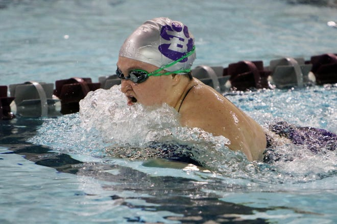 Burlington High School's Hannah Hentzel swims the second leg of the 200 Yard Medley Relay during her varsity race, at Burlington's meet against Davenport North, Tuesday Sept. 8, 2020 at BHS.