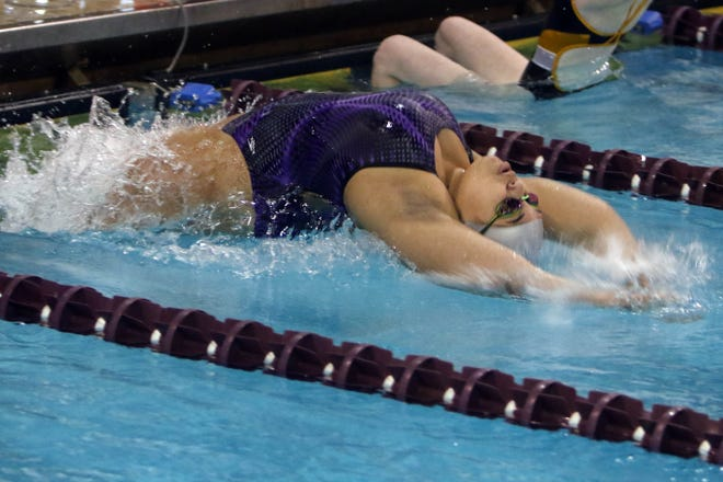 Burlington High School's Carlee Brown swims the first leg of the 200 Yard Medley Relay during her varsity race, at Burlington's meet against Davenport North, Tuesday Sept. 8, 2020 at BHS.