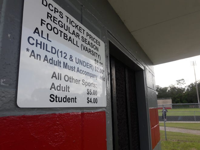 The ticket booth is pictured outside Westside High School's football stadium. Duval County Public Schools plans to require digital tickets for high school football and other sports in the 2020-21 school year.