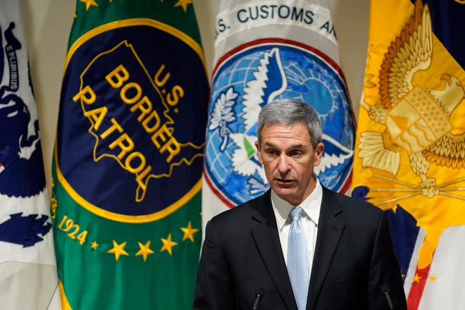 "Department of Homeland Security acting Deputy Secretary Ken Cuccinelli speaks during an event at DHS headquarters in Washington recently. Cuccinelli dismissed the notion that a Chinese manufacturing facility suspected of reliance on forced labor is a ""vocational"" center as has been portrayed by Chinese authorities."