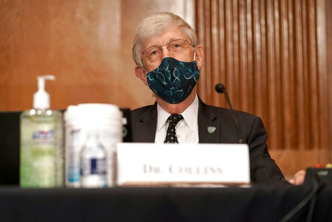 Dr. Francis Collins, director of the National Institutes of Health, attends a Senate Health, Education, Labor and Pensions Committee hearing to discuss vaccines and protecting public health during the coronavirus pandemic on Capitol Hill, Wednesday in Washington.