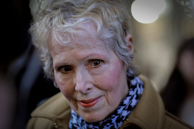 E. Jean Carroll talks to reporters outside a courthouse in New York in March. A New York judge has knocked down President Donald Trump's bid to delay a lawsuit from Carroll, who accused him of rape. Manhattan judge Verna Saunders said in a decision released last week that the presidency doesn't shield Trump in the case.