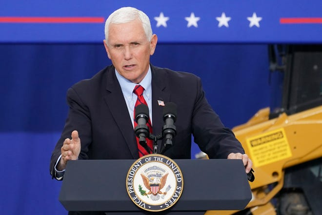 Vice President Mike Pence speaks last week at a campaign event on the grounds of Kuharchik Construction, Inc., in Exeter, Pa.