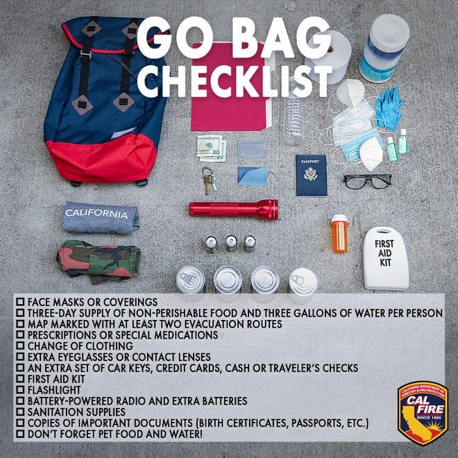 CAL FIRE's Go Bag checklist