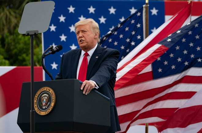 President Donald Trump speaks on the environment at an event at the Jupiter Inlet Lighthouse and Museum, Tuesday, Sept. 8, 2020, in Jupiter, Florida.