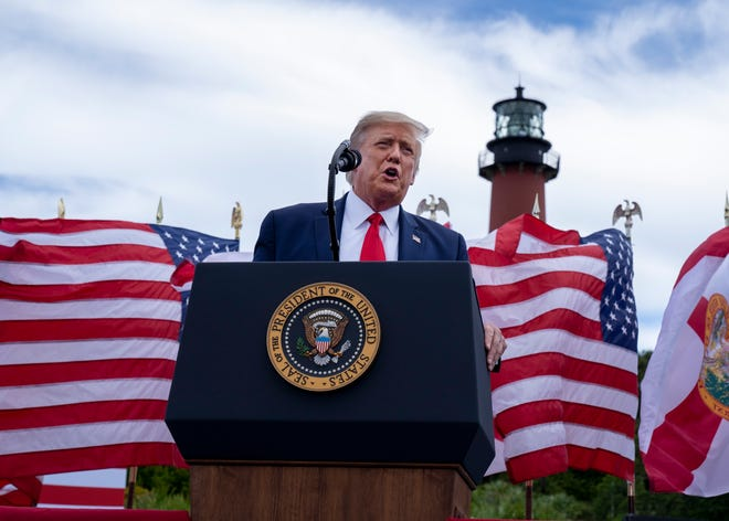 President Donald Trump speaks on the environment at and event at the Jupiter Inlet Lighthouse and Museum, Tuesday, Sept. 8, 2020, in Jupiter, Florida.