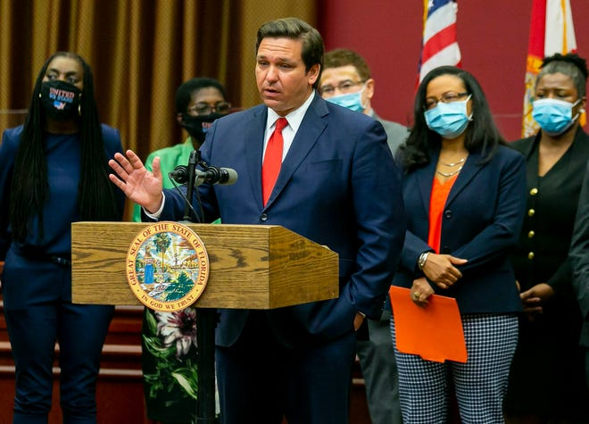 Florida Governor Ron DeSantis speaks during a press conference Wednesday in Miramar, Florida. DeSantis defended his appointment of Palm Beach County Judge Renatha Francis, who has been deemed unqualified by an unanimous court.