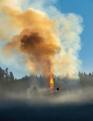 The Sweet Creek Fire burns in Lane County west of Eugene on Sept. 2, 2020.
