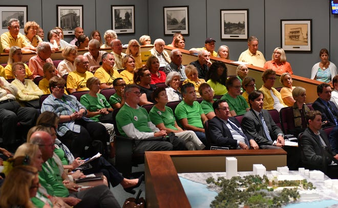 The Sarasota Planning Board held the first of two hearings last year on plans for the redevelopment of Selby Botanical Gardens. The commission chambers were filled with supporters of the plan wearing green shirts and opponents who wore yellow.