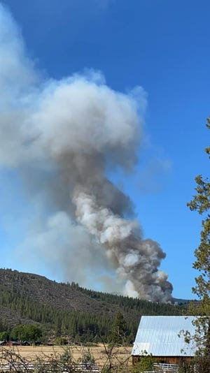 A smoke plume from the Schoolhouse Fire in Scott Valley on Sept. 9, 2020.