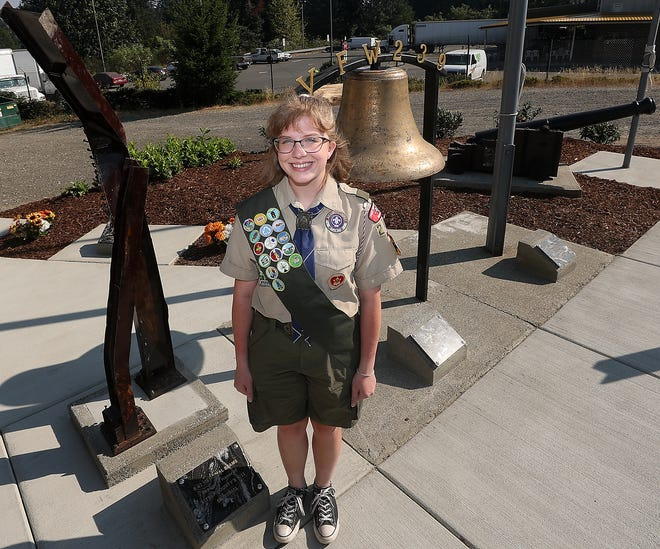 Eagle Scout candidate Sarah Ross at VFW Post 239 in Bremerton on Wednesday. Ross is on track to become Kitsap's first female Eagle Scout and a member of the first class of young women to earn the prestigious Scouting rank in the country.