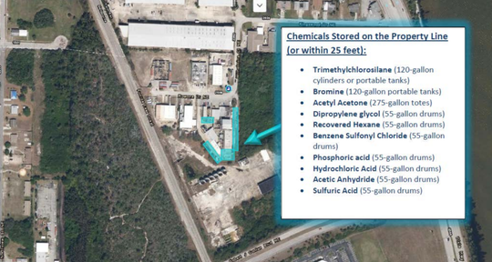 This map lists chemicals that are stored within 25 feet of the FAR Chemical property line, most of which borders the 22-acre proposed development.