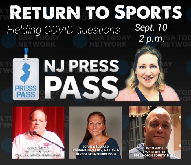 NJ Press Pass, hosted by watchdog reporter Carly Q. Romalino, returns at 2 p.m. Sept. 10, 2020, with Return to Sports. Romalino's panel including Burlington County Times sports writer John Lewis, Rowan University Health and Exercise Science expert Joanne Bullard, and Washington Township High School Athletic Director Kevin Murphy.