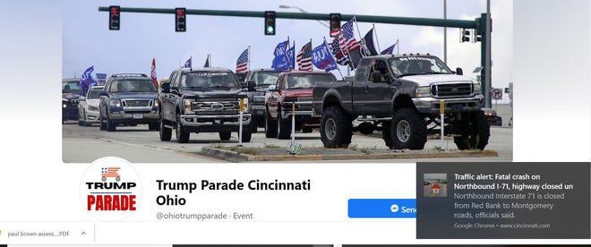 A screen shot of the Trump Parade Facebook group