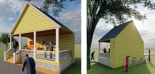 """""""Drop In,"""" created by Guggenheim fellow Matthew Mazzotta, would be built at the Irvinedale trail head. According to the master plan, the front porch will have an accessible ramp and contain a unisex restroom along with other planned trail amenities."""
