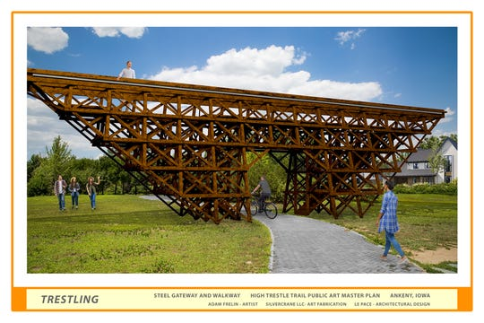 Sculptor Adam Frelin based this trestle off the historical design of the bridge trestle from the Boone River valley. The sculpture would stand at 15 feet high and would include a vantage point for pedestrians.