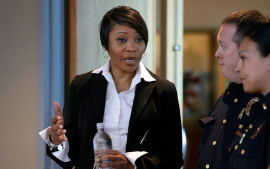 FILE - In this Sept. 7, 2017 photo, Dallas Police Chief U. Reneé Hall talks during an applicant processing event at police headquarters in Dallas.