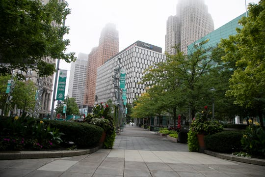 Campus Martius is quiet as downtown remains empty during the Covid-19 pandemic on Sept. 9, 2020.