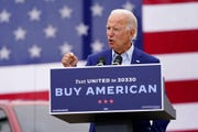 Democratic presidential candidate former Vice President Joe Biden speaks at a campaign event on manufacturing and buying American-made products at UAW Region 1 headquarters in Warren, Mich., Wednesday, Sept. 9, 2020.