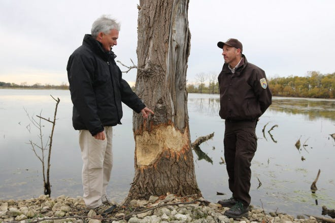 Ottawa National Wildlife Refuge manager Jason Lewis, pictured at right here with U.S. Rep. Bob Latta in 2018, said ONWR and Black Swamp Conservancy have signed an agreement to manage the Dr. Robert L. Nehls Memorial Nature Preserve on Catawba Island.