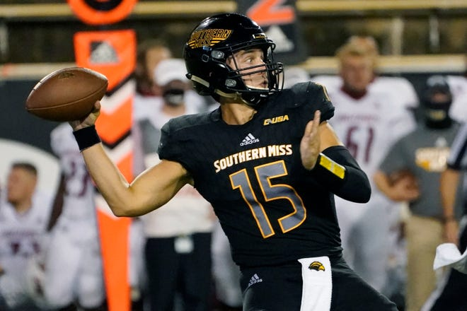Southern Mississippi quarterback Jack Abraham throws a pass during the second half of the team's NCAA college football game against Southern Mississippi in Hattiesburg, Miss., Thursday, Sept. 3, 2020. South Alabama won 32-21. (AP Photo/Rogelio V. Solis)
