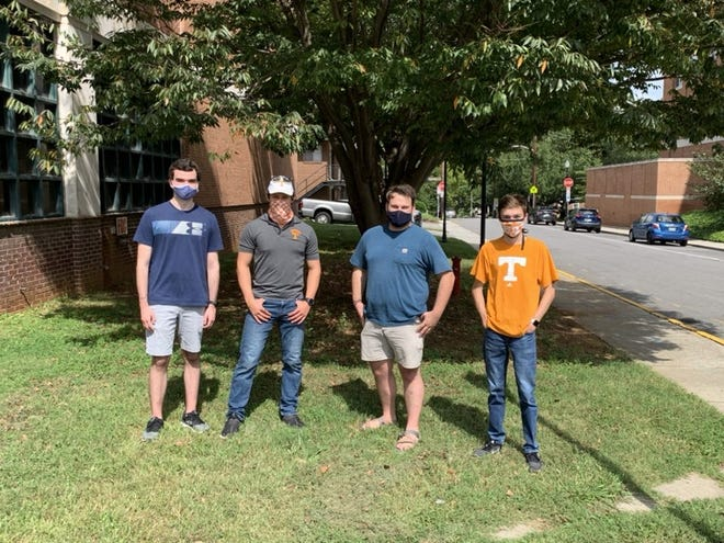 Undergraduate members of Team Vol Air pose on the University of Tennessee Campus. (From left to right: Sam Botto, Cliff Herring, Matthew Stuckey and Sam Pankratz)