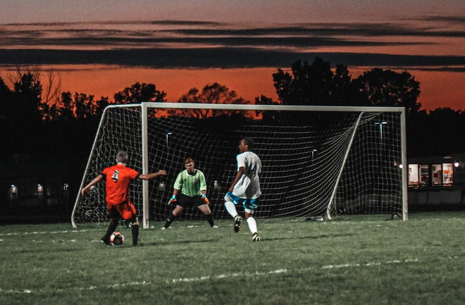 Pinckney's Chris Newman (4) scored four goals and one assist in a 7-1 victory over Ypsilanti Lincoln.