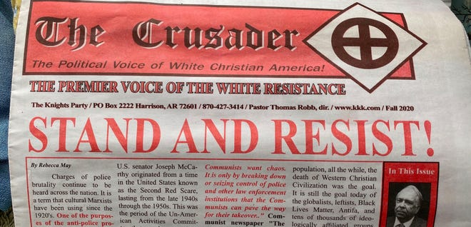 Copies of the KKK's newspaper, The Crusader, were left on doorsteps in Pleasure Ridge Park on Tuesday morning.
