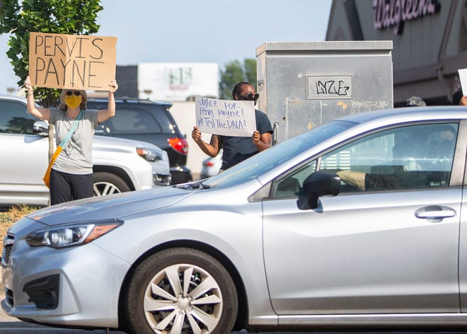 Demonstrators participate in a rally on Union Avenue for death row inmate Pervis Payne in Memphis, Tenn., on Wednesday, September 9, 2020. Payne is scheduled to be executed by lethal injection on Dec. 3,