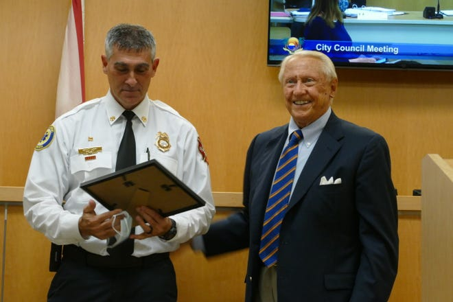 Marco Island City Council honored Fire-Rescue Chief David Batiato (left) for 30 years of service with the department on Sept. 9, 2020.