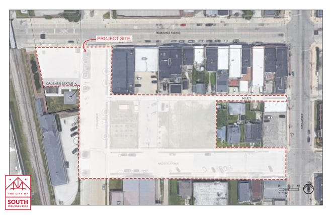 South Milwaukee is looking for resident input on what to construct on an area of city-owned land shown here adjacent to Da Crusher statue.