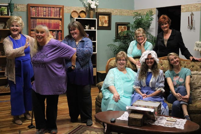 The Twin Lakes Playhouse's production of 'The Wild Women of Winedale' includes (front row, left to right) Deb Smith, Patty Kotlicky, Kimberly Beasley, Dianne Pankau, Rhonda Hardcastle, Olivia Wolfe, (back row, left to right) Sue Howe and Anne Johnson.