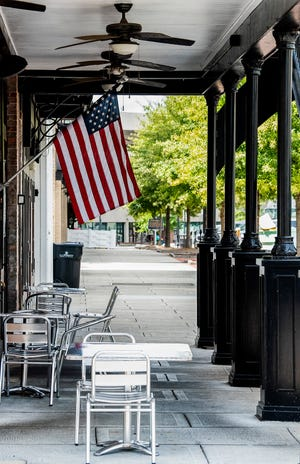 The terrace at Irish Bred Pub in downtown Montgomery, Ala., on Tuesday September 8, 2020.