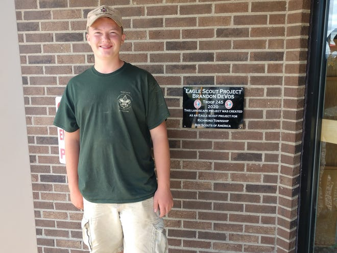 Brandon DeVos did his Eagle Scout Project at Richmond Township Hall, where he and volunteers installed new landscaping to beautify the hall.