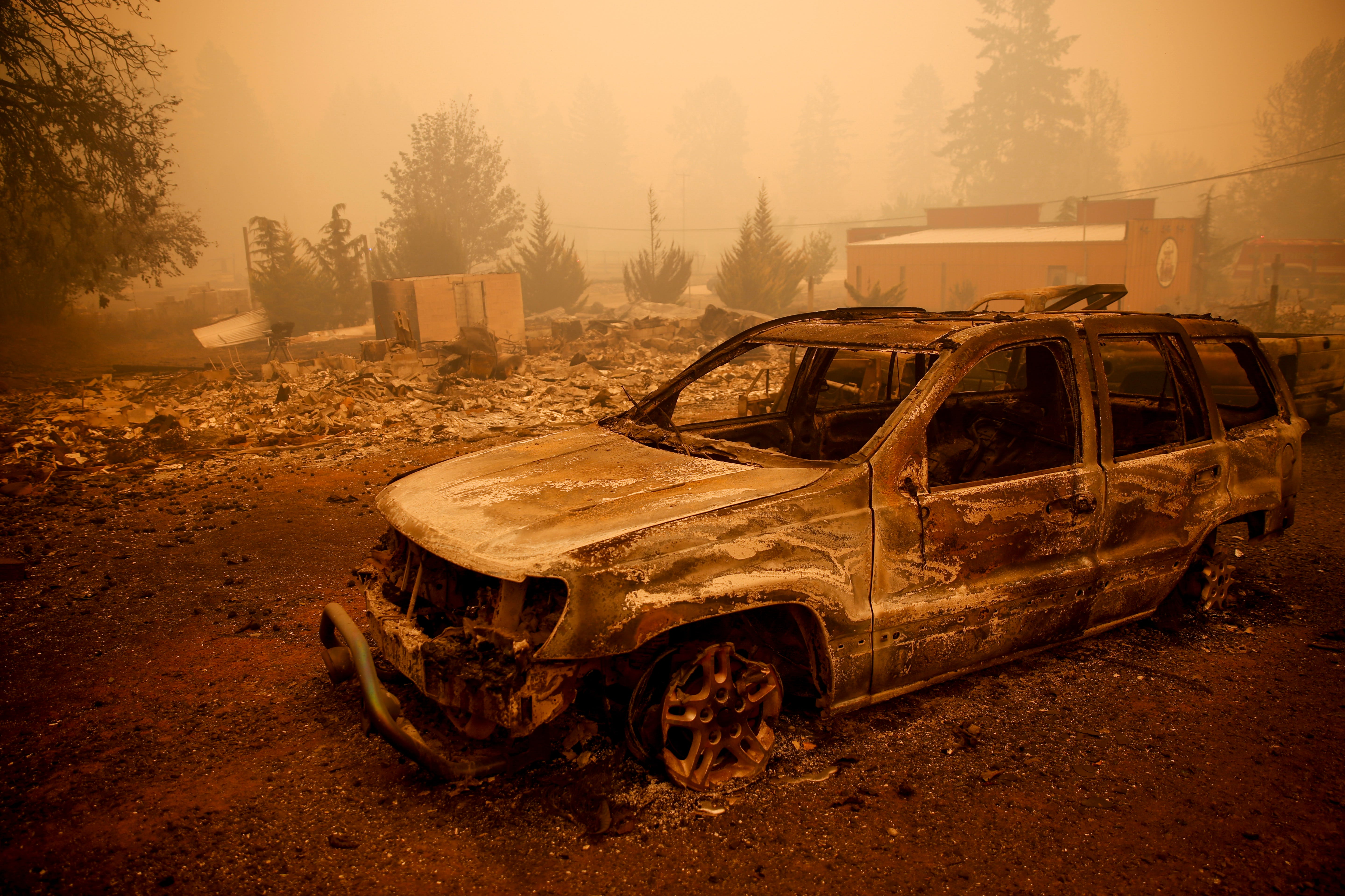 A burned SUV following the Beachie Creek Fire on Wednesday, Sept. 9, 2020 in Oregon.