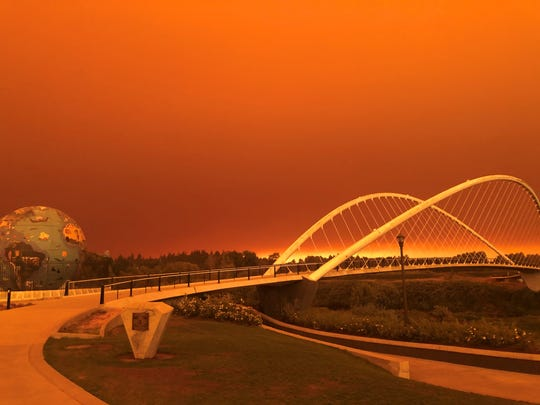 Wildfires have left a haze above the Salem area and at Riverfront Park on Tuesday, Sept. 8.