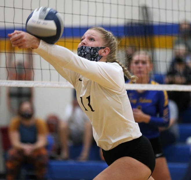 Water Valley's Kynlea Foltz digs the ball during a District 7-2A volleyball match against Veribest at the Veribest High School gym on Tuesday, Sept. 8, 2020.